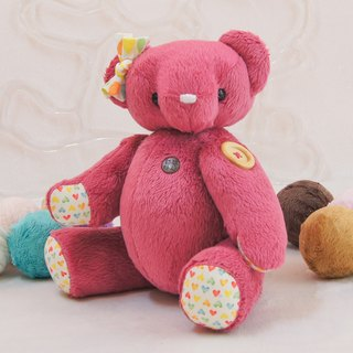 Handmade teddy bear pudding bear berry cashmere 34cm custom color and embroidered word finished