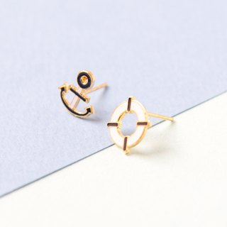 Anchor | Asymmetric hand made earrings