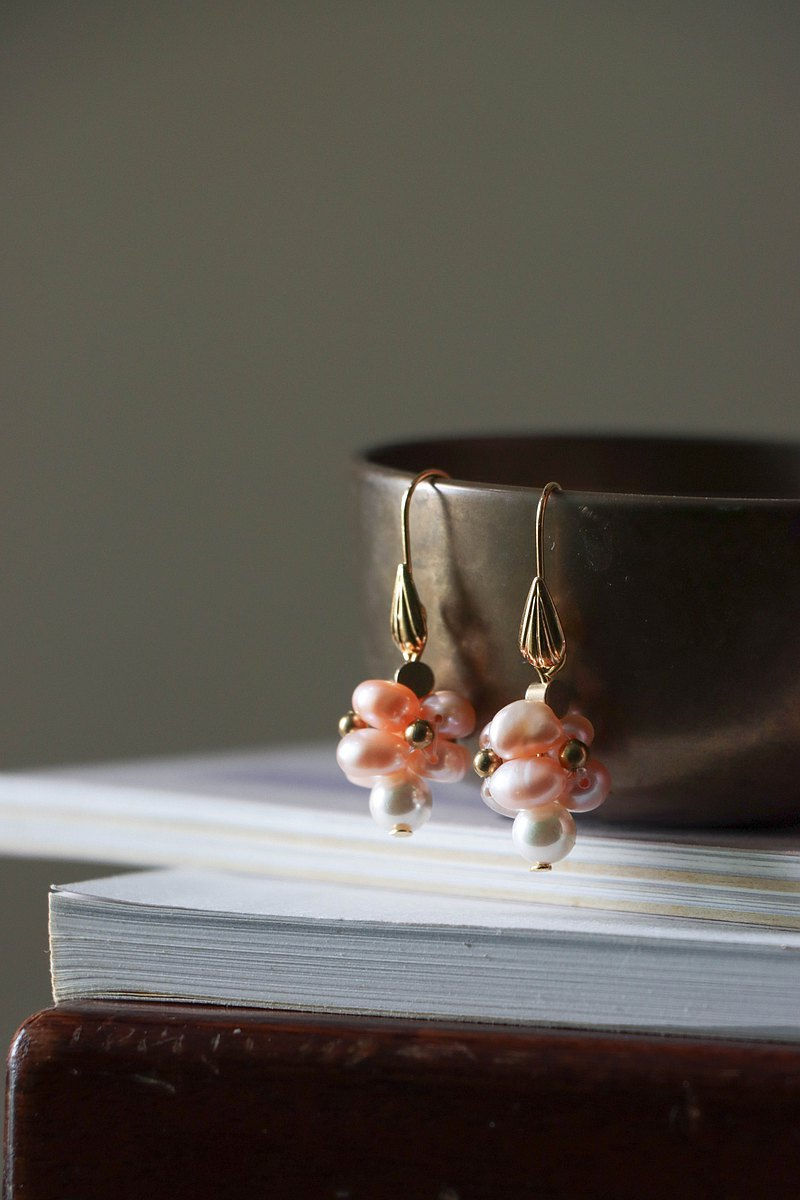 fillings- golden shell pink purple pearl tower earrings