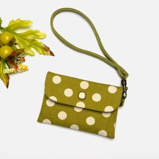 Mustard green with white polka dots Card holder/Badge holder/credit card case/gift card holder/business card holder Hand-made canvas
