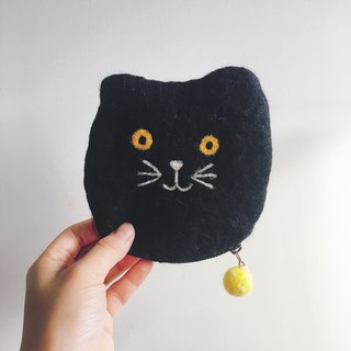 Wool felt handmade cat purse universal bag