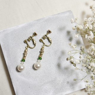 Classical light jewellery. Pendant pearl earrings. Ear clip