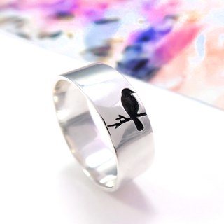 Valentine bird sterling silver ring (single-left)
