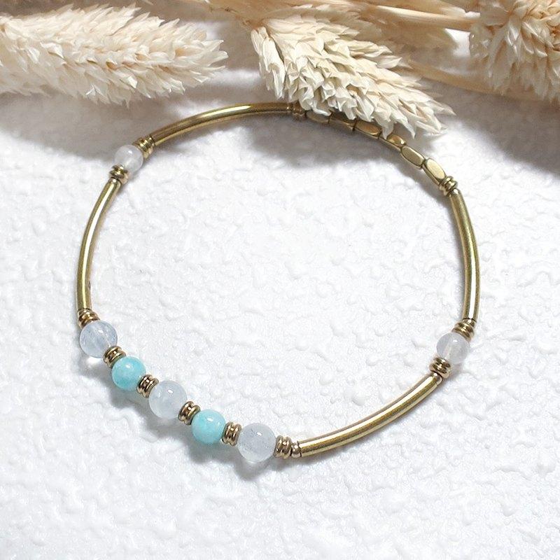 ♦VIIART♦湖邊♦海藍寶石天河石黃銅手環