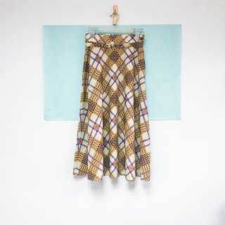 Vintage half skirt / yellow purple oblique check skirt with belt