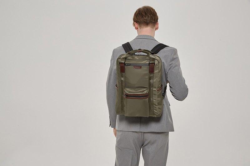 【春季優惠】Ernest 防水多用途 尼龍筆電背包 15吋16吋 (軍綠色)