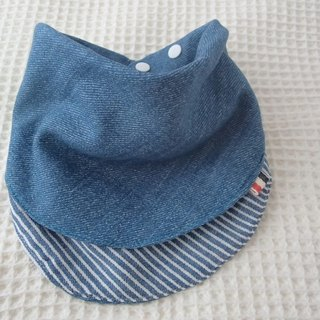 Baby Bib,Reversible,Baby Scarf Bib,Handkerchief,Blue Hickory Stripes/Blue Denim