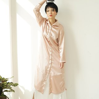 Satin Button Down Shirt Dress