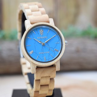 EINBAND & BOND STONE Reise Turquoise × Maplewood 32mm WOOD STONE Watch