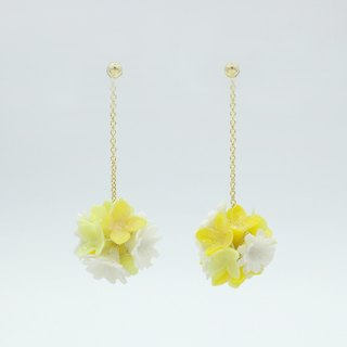 Pamycarie Spring resin clay flower ball 925 sterling silver earrings