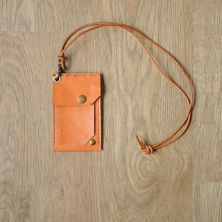There must also be a mystery to put the documents / identification card holder neck lanyard combination hand-sewn leather ID card holder
