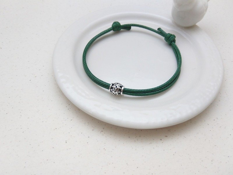 Wax line bracelet s925 sterling silver Thai silver pattern plain color simple wax rope thick rope