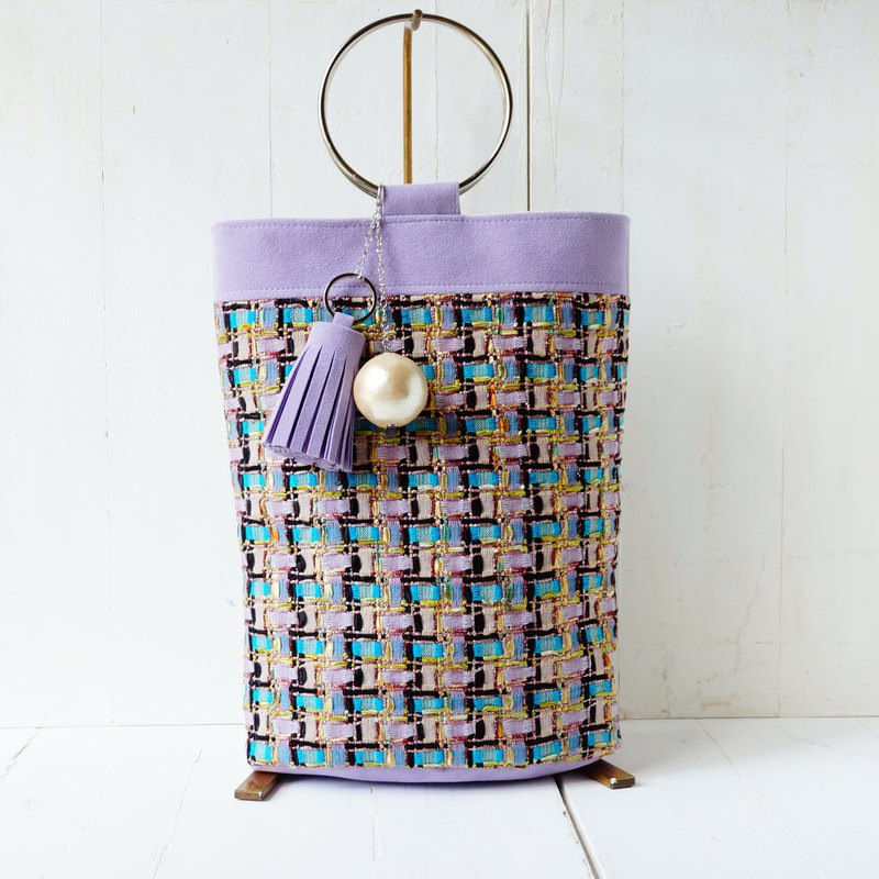 Fancy Tweed's Ring Handle Bag Elegance Purple