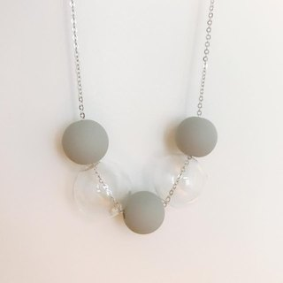 grey Glass ball Beans Necklace Chrismas Gift Wedding BFF