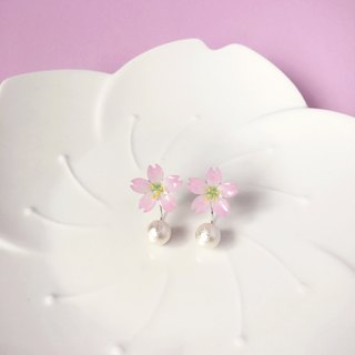 [Sakura Limited Edition] Beautiful Pink Cherry blossoms Flower elegant cotton beads earrings