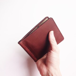 Men's Money Clip Wallet made of Vegetable-tanned Cow Leather in Brown