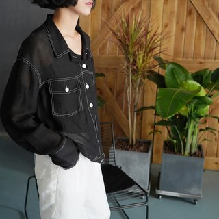 Original design simple linen long sleeve blouse jacket in black