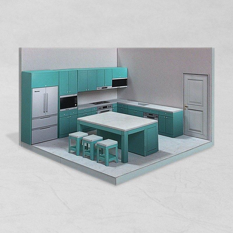 Papercraft Kitchen 002 Diy Dollhouse Paper Model Designer
