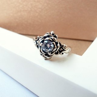 Crystal Rose Iris carved rose gold ring - 925 sterling silver