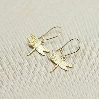 Gold Dragonfly Kidney Earrings \ 24k Gold Plated \ 14k Gold Filled