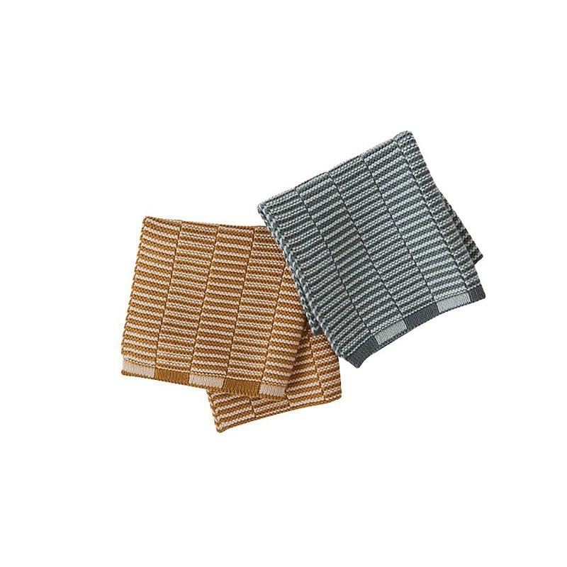 Stringa 層疊線條有機棉萬用巾 - 焦糖/薄荷 2入組