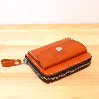 MOOS Italian orange vegetable tanned cow leather handmade zipper card bag, even coin purse, hand-stitched leather goods