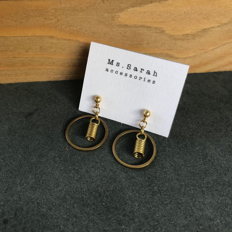 Brass earrings _ round bulb (can be changed)