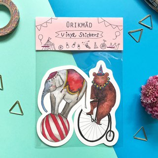 Animal Sticker Set // Circus // Bear and Elephant