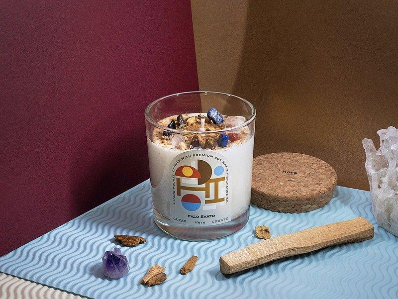 HERE 水晶花草能量香氛蠟燭145g 秘魯聖木