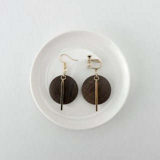 Circledot log gold needle earrings ear clip ear clip earrings
