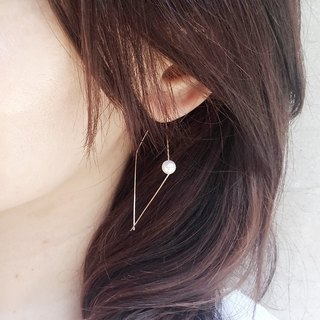 Simple Pearl Big Earrings / The one Swarovski Pearl 14KGF earring.