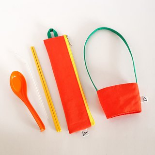 Eat more fruits and vegetables, good health / environmental protection tableware bag + beverage bag / exclusive group / orange carrot