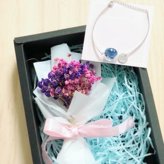 Preserved flower glass ball bracelet personalized Box set Blue Navy