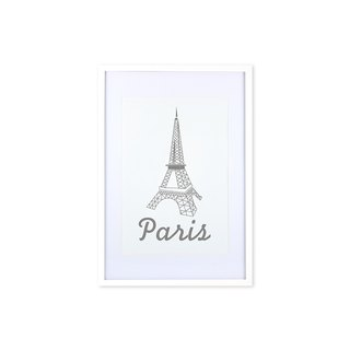 HomePlus Decorative Frame -  GREY Eiffel Tower - White frame 63x43cm Homedecor