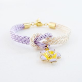 Lilac and cream knot bracelet with flower charm