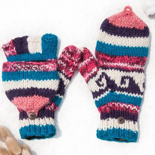 Hand-knitted pure wool knit gloves / detachable gloves / inner bristled gloves / warm gloves - macarons party