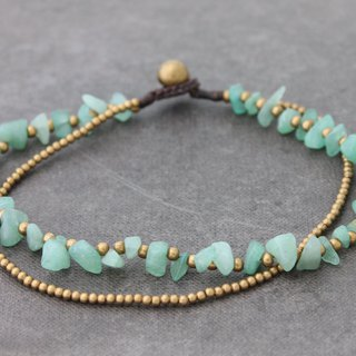 Jade Brass Stone Double Strand Anklets Simple Hippy Boho Yoga