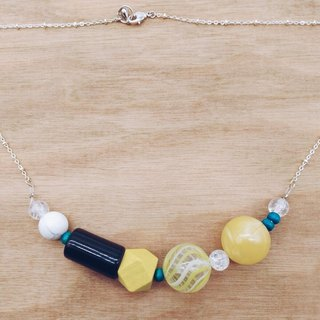 【Corner shop】 own hand blowing glass Muzhu series - necklace (yellow)