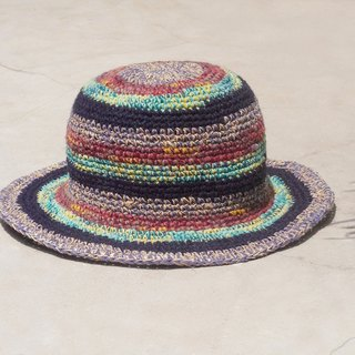 Limited edition handmade knitted cotton hooded / knitted hat / fisherman hat / sun hat / straw hat - starry stars fruit smoothie striped handmade hat