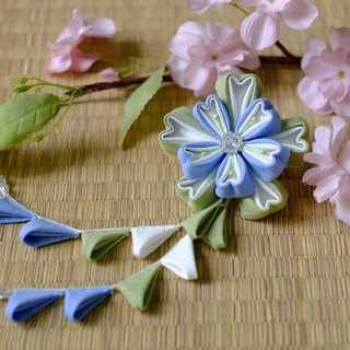 "Hana Saku [ma mi-zu] fretwork double cherry. Bloom | Macaron color ""light green mint: sky blue soda"" - Japanese-style wind flower hairpin yukata kimono Japanese fabric flower hair ornaments handmade creation"