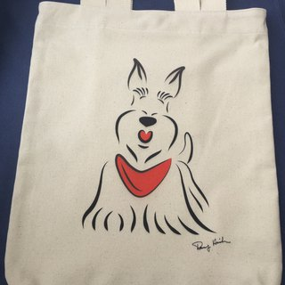 Q Family dual-use canvas bag Scottish Terrier double-sided Q gift before the end of September