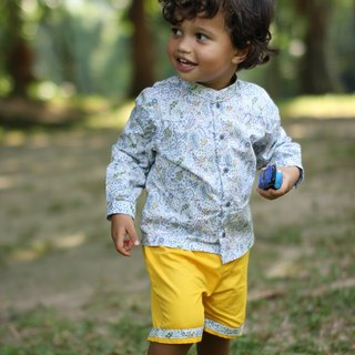 Toddler boy mandarin collar shirt and yellow shorts