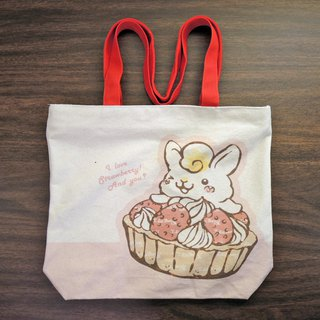 Canvas shoulder double-sided bag - strawberry egg tower