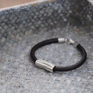 Log Mens Leather Bracelet 925 Silver