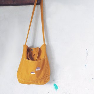 Hedgehog Embroidery - Canvas Crossbody Bag: Yellow Mustard