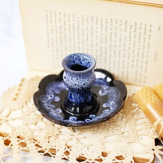 [Good day fetish] German antique ceramic dark blue blooming lace candle holder