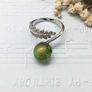 Diffuser Gold Leaf Adjustable Ring Sterling Silver Leaves Pendant Green Color