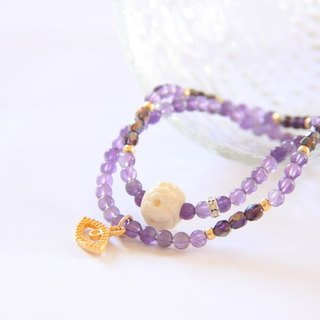 Fashion Energy Jewelry Collection - Naturally Engraved Lotus Bovine Amethyst Bracelet /