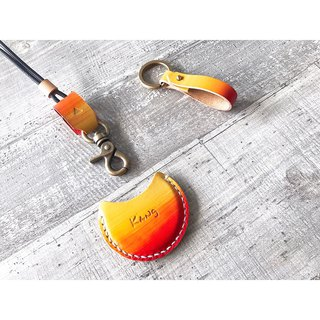 Exchange gifts gogoro key key holster key leather rope Customized pattern design Free typing of English letters /