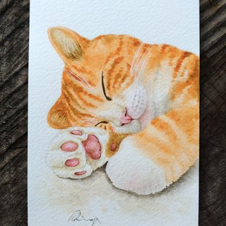 "Watercolor Custom-made Pet Animal Painting card size - no frame, 4"" x 6"""
